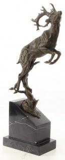 Casa Padrino Luxus Bronzefigur springender Hirsch Bronze / Schwarz 20, 4 x 9, 9 x H. 49, 5 cm - Elegante Dekofigur mit Marmorsockel - Vorschau 2