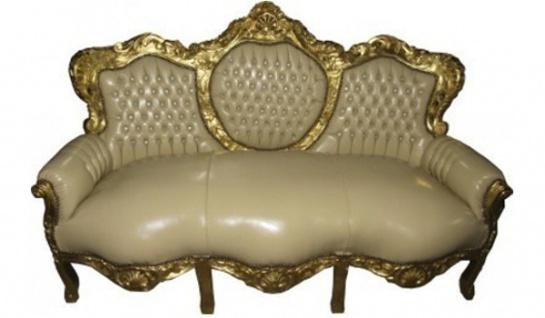 Casa Padrino Barock Sofa King Creme Lederoptik / Gold - Möbel Antik Stil