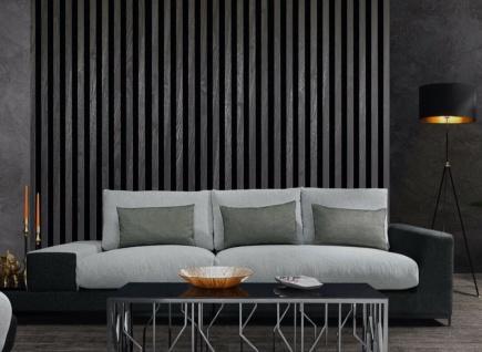 Casa Padrino Luxus Wohnzimmer Sofa mit dekorativen Kissen Hellgrau / Schwarz 337 x 100 x H. 57 cm - Luxus Wohnzimmer Möbel