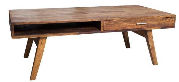 Casa Padrino Designer Massivholz Couchtisch Natur 120 x H. 40 cm - Salon Wohnzimmer Tisch