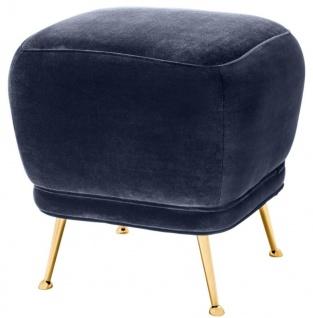 Casa Padrino Luxus Samt Hocker Mitternachtsblau / Messingfarben 47 x 47 x H. 47 cm - Luxus Möbel