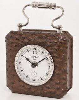 Casa Padrino Luxus Tischuhr Braun / Silber 7, 5 x H. 7, 5 cm - Dekorative Uhr im Handtaschen Design