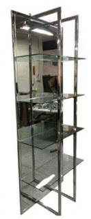 Casa Padrino Luxus Regalschrank Silber 80 x 35 x H. 200 cm - Edelstahl Schrank mit 4 Glasregalen und großem Spiegel - Wohnzimmerschrank - Wohnzimmermöbel