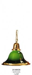 Klassische Pendelleuchte im Landhausstil Grün/Gold, Kristall mit Kette, Durchmesser 21, 5 cm, Leuchte Lampe 2114VCH
