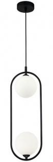 Casa Padrino Luxus Hängeleuchte Schwarz / Weiß 17 x 12 x H. 48 cm - Moderne Pendelleuchte