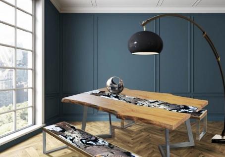 Casa Padrino Luxus Esstisch Naturfarben / Mehrfarbig / Silber 200 x 100 x H. 75 cm - Moderner Massivholz Tisch mit edlem Lavastein und Edelstahl Gestell - Esszimmmer Möbel - Luxus Qualität - Vorschau 4