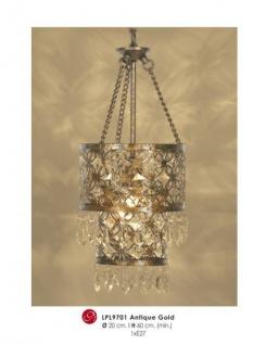 Orientalische Designer Pendelleuchte mit Kristall-Deco Antik Gold Leuchte Lampe