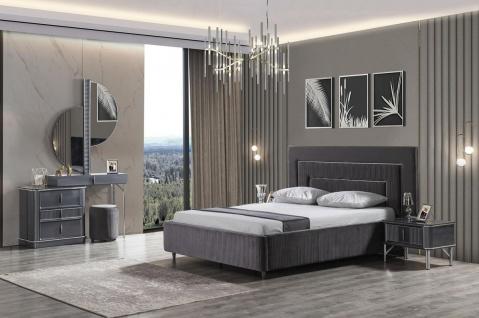 Casa Padrino Luxus Schlafzimmer Schminktisch Set Grau / Silber - 1 Schminkkommode mit Spiegel & 1 Hocker - Luxus Schlafzimmer Möbel - Vorschau 4