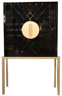 Casa Padrino Designer Barschrank Schwarz / Messingfarben 120 x 40 x H. 190 cm - Edler Weinschrank mit hochwertigen Keramikfliesen - Bar Möbel - Hotel Möbel - Luxus Qualität