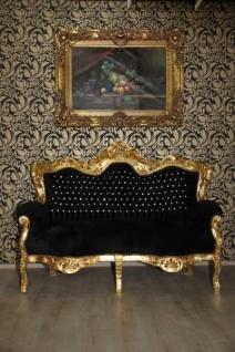 Casa Padrino Barock 2er Sofa Master Schwarz / Gold mit Bling Bling Glitzersteinen