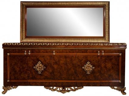 Casa Padrino Luxus Barock Möbel Set Sideboard mit Spiegel Braun / Bronze / Gold - Edler Massivholz Schrank mit elegantem Wandspiegel - Möbel im Barockstil