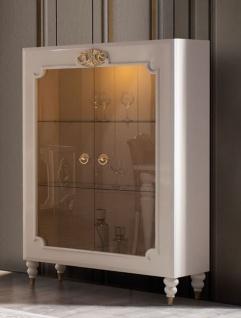 Casa Padrino Luxus Barock Vitrine Weiß / Gold 116 x 45 x H. 170 cm - Beleuchteter Massivholz Vitrinenschrank mit 2 Glastüren - Edle Barock Möbel