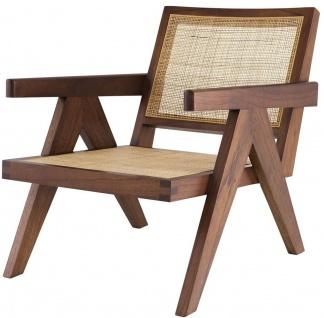 Casa Padrino Designer Stuhl Braun / Naturfarben 58 x 82 x H. 70 cm - Massivholz Stuhl mit Armlehnen und handgewebtem Rattangeflecht - Luxus Wohnzimmer Möbel