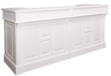 Casa Padrino Landhausstil Theke Weiß 240 x 65 x H. 107 cm - Massivholz Ladentheke mit 2 Schubladen - Landhausstil Möbel