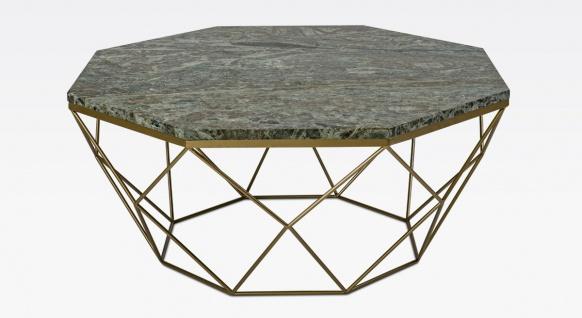 Casa Padrino Luxus Couchtisch Gold / Grün 92 x 92 x H. 40 cm - 8-eckiger Wohnzimmertisch mit Marmorplatte und Metallgestell - Moderne Wohnzimmer Möbel