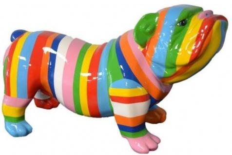 Casa Padrino Designer Dekofigur Hund Bulldogge Mehrfarbig Gestreift 55 x H. 32 cm - Wetterbeständige Deko Skulptur - Wohnzimmer Deko - Garten Deko - Designer Deko