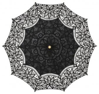 MySchirm Designer Dekoschirm Hochzeitsschirm mit schwarzer Baumwollspitze - romantischer Decoschirm - Vorschau 2