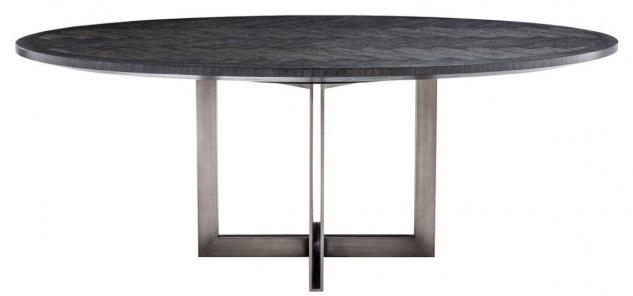 Casa Padrino Luxus Esstisch Schwarz / Bronze 200 x 120 x H. 76 cm - Ovaler Küchentisch - Luxus Esszimmer Möbel - Vorschau 2