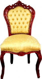 Casa Padrino Barock Esszimmer Stuhl Gold Muster / Mahagoni Braun - Barock Möbel Antik Stil