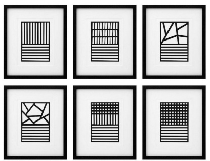 Casa Padrino Luxus Bilder 6er Set Abstrakte Kunst Schwarz / Weiß 55 x H. 65 cm - Kunstdrucke - Wandbilder - Luxus Wanddeko