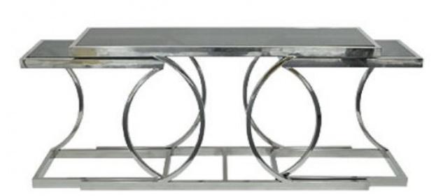 Casa Padrino Designer Wohnzimmer Konsolentisch mit Glasplatten Silber 150 x 43 x H. 75 cm - Luxus Möbel