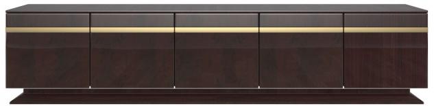 Casa Padrino Designer TV Schrank Dunkelbraun Hochglanz / Gold 240 x 45 x H. 55 cm - Edler Fernsehschrank mit 5 Türen - Luxus Wohnzimmer Möbel