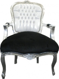 Casa Padrino Barock Salon Stuhl Weiß / Schwarz Bling Bling