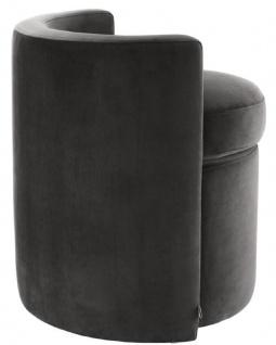 Casa Padrino Designer Sessel Dunkelgrau 61 x 57 x H. 64 cm - Runder Samt Sessel - Luxus Möbel - Vorschau 3