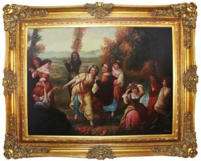 Casa Padrino Barock Ölgemälde Gartenfest Mehrfarbig / Gold 160 x 10 x H. 130 cm - Handgemaltes Gemälde mit prunkvollem Rahmen im Barockstil - Wanddeko im Barockstil