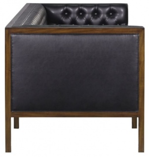Casa Padrino Chesterfield Echtleder 3-Sitzer Sofa Schwarz / Braun 213 x 78 x H. 72 cm - Hotel Möbel - Vorschau 3