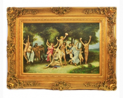 Handgemaltes Barock Öl Gemälde Familien Engel Bildniss 5 Gold Prunk Rahmen 130 x 100 x 10 cm - Massives Material - Vorschau