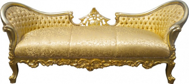 "Casa Padrino Barock Sofa Garnitur "" Vampire"" Gold Muster Satin - Limited Edition - UNIKAT"