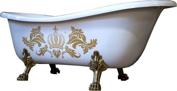 Pompöös by Casa Padrino Luxus Badewanne Deluxe freistehend von Harald Glööckler Weiß / Gold / Weiß 1560mm mit goldfarbenen Löwenfüssen