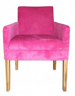 Casa Padrino Luxus Esszimmer Stuhl Pink / Holz Farbig mit Armlehnen - Vorschau 1