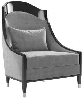 Casa Padrino Luxus Art Deco Wohnzimmer Sessel Grau / Schwarz / Silber 80 x 85 x H. 110 cm - Luxus Qualität - Art Deco Möbel