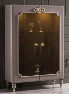 Casa Padrino Luxus Barock Vitrine Grau / Gold 116 x 45 x H. 170 cm - Beleuchteter Massivholz Vitrinenschrank mit 2 Glastüren - Edle Barock Möbel