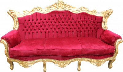 Casa Padrino Barock Wohnzimmer Set Bordeaux /Gold - 3er Sofa+2er Sofa + 1 Sessel - Vorschau 4