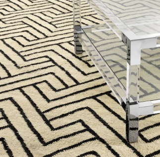 Casa Padrino Luxus Wohnzimmer Teppich Naturfarben / Schwarz 300 x 400 cm - Luxus Kollektion