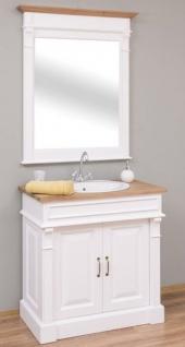 Casa Padrino Landhausstil Badezimmer Set Weiß / Naturfarben - 1 Waschtisch & 1 Wandspiegel - Massivholz Badezimmer Möbel im Landhausstil