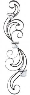 Casa Padrino Designer Wandteelichthalter Schwarz 16 x 9 x H. 74 cm - Metall Wanddeko mit Teelichthaltern aus Glas