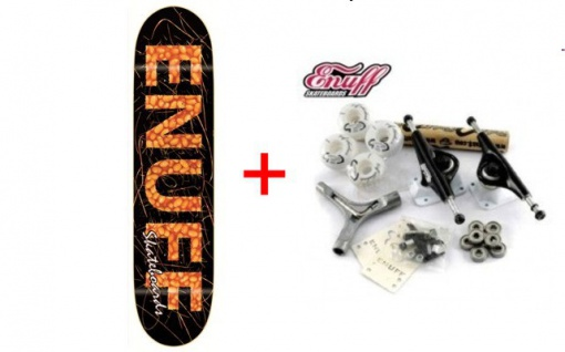 Enuff Skateboard Deck Beans + Profi Achsen + Rollen + Schrauben + Kugellager + Grip - SPECIAL - Komplettboard Komplett Set