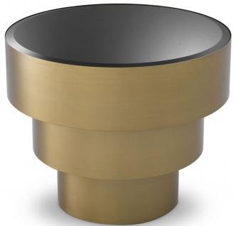 Casa Padrino Luxus Beistelltisch Messingfarben / Schwarz Ø 55 x H. 44, 5 cm - Runder Edelstahl Tisch mit Glasplatte - Wohnzimmer Möbel - Luxus Möbel