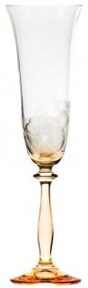 Casa Padrino Luxus Barock Champagnerglas 6er Set Orange Ø 7 x H. 24, 5 cm - Handgefertigte und handgravierte Champagnergläser mit Blumen Design - Hotel & Restaurant Accessoires