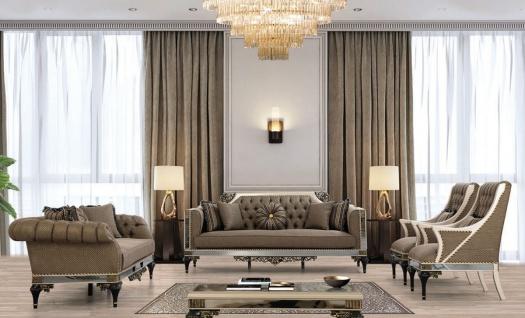 Casa Padrino Luxus Barock Wohnzimmer Set Braun / Weiß / Schwarz / Gold - 2 Sofas & 2 Sessel & 1 Couchtisch - Wohnzimmer Möbel im Barockstil - Edel & Prunkvoll