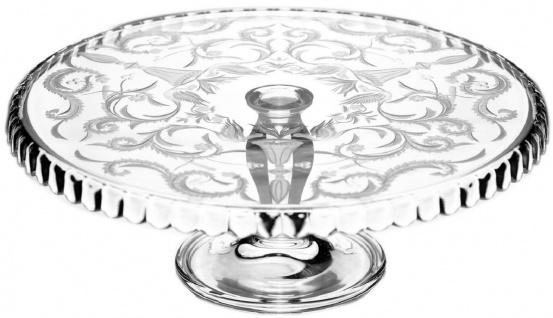 Casa Padrino Luxus Kuchenteller Silber Ø 32 x H. 12 cm - Handgefertigte und handgravierte Glas Kuchenplatte - Hotel & Restaurant Accessoires - Luxus Qualität