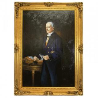 Riesiges Handgemaltes Barock Öl Gemälde Seigneurie Gold Prunk Rahmen 220 x 160 x 10 cm - Massives Material