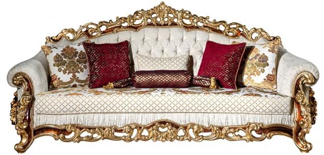 Casa Padrino Luxus Barock Sofa Weiß / Gold / Braun / Gold 225 x 100 x H. 110 cm - Prunkvolles Wohnzimmer Sofa mit dekorativen Kissen - Barock Möbel