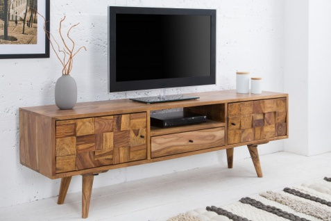 Casa Padrino Designer Fernsehschrank Natur B.140 x H.45 x T.35 - Sideboard - Kommode - Handgefertigt Massivholz! - Vorschau 2