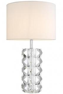 Casa Padrino Luxus Kristallglas Tischleuchte Silber / Weiß Ø 43 x H. 75 cm - Hotel & Restaurant Tischlampe mit Lampenschirm