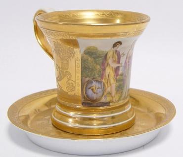 Casa Padrino Barock Tasse mit Untertasse Gold / Mehrfarbig H. 10, 5 cm - Edles Porzellan Geschirr